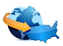 Globe US map Royalty Free Stock Image