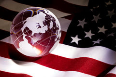 Globe and USA Flag Royalty Free Stock Photos