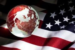 Globe and USA Flag Stock Photo