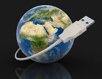 Globe and USB Cable (clipping path included) vector illustration
