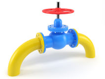 Globe valve on gas-main Royalty Free Stock Images