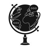 Globe of various languages icon in black style isolated on white background. Royalty Free Stock Photos