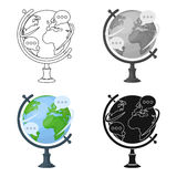 Globe of various languages icon in cartoon style isolated on white background. Interpreter and translator symbol stock. Globe of various languages icon in Stock Photo