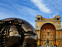 Globe in the Vatican Museum. The Metal globe in the courtyard of the vatican museum in Rome, Italy Stock Photo