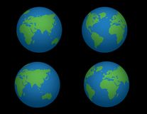 Globe Vectors..4 Different Views Stock Photo