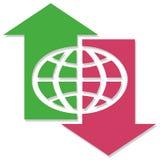 Globe vers le haut en bas des flèches Image stock