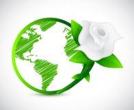 Globe vert et une rose Conception d'illustration Image libre de droits