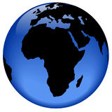 Globe view - Africa. Rasterized pseudo 3d  globe view - Africa continent Stock Photography