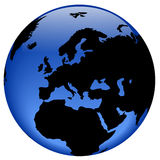 Globe view - Europe Royalty Free Stock Images