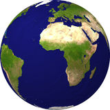 Globe view from a satellite. Earth view from a satellite Royalty Free Stock Photography