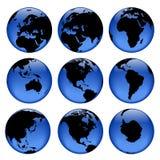 Globe views #2. Set of rasterized pseudo 3d  globe views Royalty Free Stock Photo