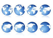 Globe views. 8 different 3D world globe views Stock Photos