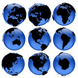 Globe views #4. Set of rasterized pseudo 3d  globe views - land is intentionally moved above the globe surface Royalty Free Stock Photos