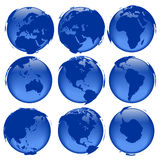 Globe views #5. Rasterized pseudo 3d  globe views - land is intentionally moved above the globe surface Royalty Free Stock Image