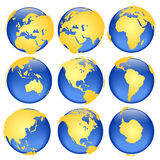 Globe views #6. Rasterized pseudo 3d  globe views - land is intentionally moved above the globe surface (traditional set of colors Stock Image