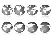 Globe views Black and white. 8 different 3D world globe views - Black and white Royalty Free Stock Photography