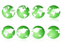 Globe views Green. 8 different 3D world globe views [Green World Royalty Free Stock Images