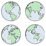 Globe views vector. Planet earth globe drawing, different views and countries + vector eps file Stock Images