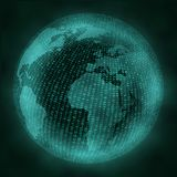 Globe virtuel avec le code binaire Concept de réalité virtuelle Image libre de droits