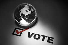 Globe and Voting. Concept of Global Communications Royalty Free Stock Photos