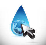 Globe water and cursor illustration Royalty Free Stock Photography