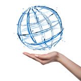 Globe from water with human hand isolated Royalty Free Stock Images