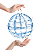 Globe from water with human hand isolated on white Royalty Free Stock Image