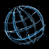 Globe from water splashes on black Royalty Free Stock Image
