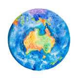Globe. Watercolor illustration of planet Earth with Australia in the center Royalty Free Stock Images