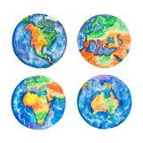 Globe. Watercolor illustration of planet Earth mainlands and continents. Globe. Watercolor illustration of planet Earth mainlands and continents stock illustration