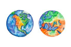 Globe. Watercolor illustration of planet Earth North America and Europe mainlands and continents. Globe. Watercolor illustration of planet Earth North America stock illustration