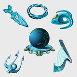 Globe, weapon and elements from sci-Fi series Stock Photography