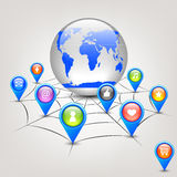 Globe in web. Vector illustration of globe in web with internet icons stock illustration
