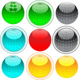 Globe web buttons. Web buttons with globe for design Royalty Free Stock Photos