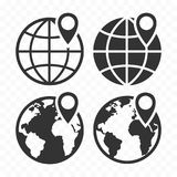 Globe web icon and location pin. Planet earth icon set with pointer pin. Stock Photos