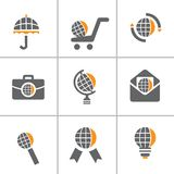 Globe web icon set Stock Images