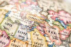 Globe West Asia. Close-up of West Asia in the colorful world map royalty free stock image