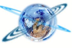 Globe on a white background. And round it a ring of dark blue color Royalty Free Stock Image