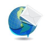 Globe and white envelope. Illustration, envelope from white paper on background of the globe Stock Photos