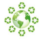 Globe white recycle sings around Stock Photo