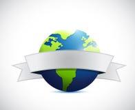 Globe and white ribbon illustration design Royalty Free Stock Image