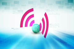 Globe with wi fi connection Stock Images