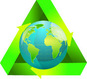 Globe wiht recycling symbol Stock Image