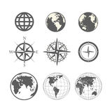 Globe and wind rose scheme Royalty Free Stock Images