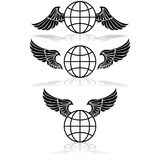 Globe and wings Royalty Free Stock Photography