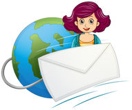 A globe with a wired envelope and a woman Stock Image