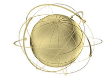 Globe with wired orbits of satellite. 3D rendered metal Globe with wired orbits of satellite Royalty Free Stock Image