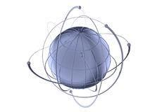 Globe with wired orbits of satellite. 3D rendered metal Globe with wired orbits of satellite Royalty Free Stock Photo