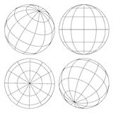 Globe wireframe set. Set of four different sides of globe wireframe Stock Photography