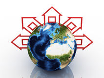 Globe With Homes Around On White Background Royalty Free Stock Photo
